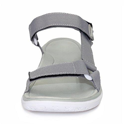 Femmes Blanc Souple Odeur à GRITION pour Gris Semelle Séchage Sans avec Sandales Décontractées et Rapide Légère qSxZnwta