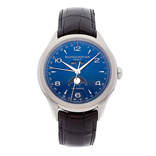 Luxury Watch Men (Baume & Mercier Clifton Moonphase SS Auto 43mm Blue Dial Mens Watch M0A10057 (Certified Pre-Owned))