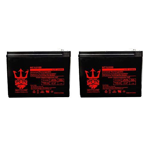 Batería SLA de plomo ácido sellada de 12v 10Ah para bicicleta eléctrica Schwinn, Mongoose de Neptune - Paquete de 2