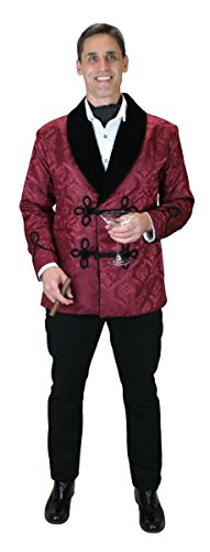 Historical Emporium Men's Vintage Brocade Smoking Jacket 2X Burgundy
