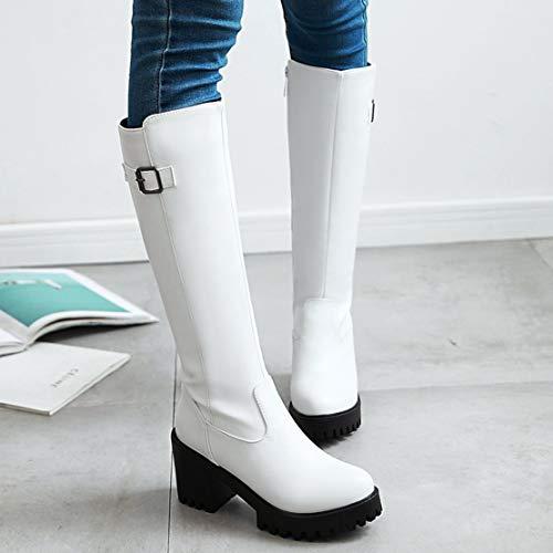 Aiyoumei Clásicas Botas Mujer De Sintético Blanco YrYxvqP