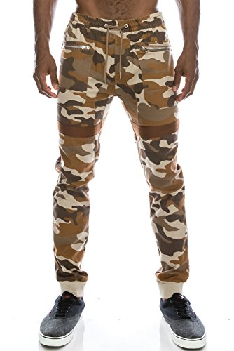 JC DISTRO Mens Hipster Hip Hop Tape Accent & Zipper Pocket Camo Twill DESERTCAMO Jogger Pants 3XL by JC DISTRO