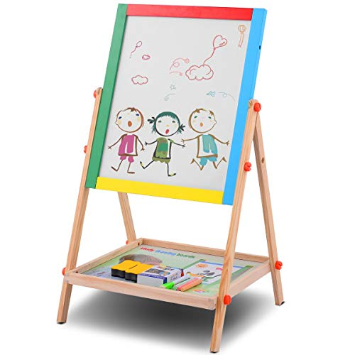 Costzon 2 in 1 Kids Easel, Double Sided Adjustable Chalkboard & White Dry Erase Surface with 12 PCS Chalks, Marker Pen, Magnetic Sponge & Bottom Tray, Wood Standing Easel for Toddlers (Natural Wood) ()