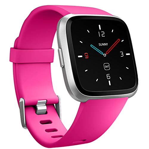 Ouwegaga Compatible for Fitbit Versa Band Fitness Wristbands for Women Men Small Rose Pink