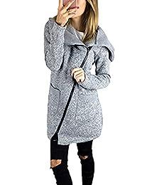 Women Plus Size Casual Zip Up Fleece Outwear Jackets Coats Parkas With Pockets Grey M