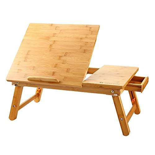 Large Laptop Desk Nnewvante Table Adjustable 100% Bamboo Foldable Breakfast Serving Bed Tray Table w' Tilting Top Drawer ()