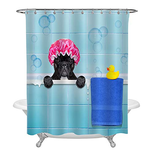 French Bulldog in a Bathtub Shower Curtain, Puppy Wearing a Bathing Cap with Yellow Plastic Duck and Towel, Waterproof Fabric Shower Curtain Mildew Free, 72 x 78 Inches Long for -