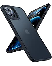 TORRAS Shockproof Case Compatible for iPhone 12 Pro Max Case [Military Grade Drop Tested] Translucent Matte Hard PC Back with Soft Silicone Edge Slim Fit Protective Guardian 6.7 inch, Black