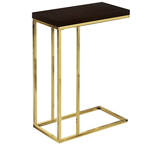25.25″ Cappuccino Brown and Gold Rectangular Contemporary Gold Accent Table