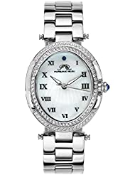 Porsamo Bleu South Sea Oval Crystal Stainless Steel Silver Tone Womens Watch 106ESSO