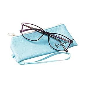 SOOLALA Lightweight TR90 Full Frame Oversized Clear Lens Eyeglasses Reading Glasses, Purple, 4.0D