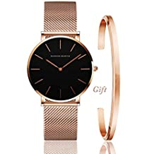 Women's Analog Quartz Rose Gold Watch with Bracelet Gift Set Stainless Steel Mesh Strap Ladies Watch Simple and Elegant