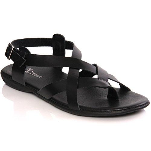 Unze Mens 'Nabi' Handmade Leather Flat Summer Sandals – G00235