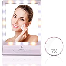 MiroPure Makeup Mirror with 7x Magnifying Spot, 18 Dimmable LED lights, Dual Power Supply, Touch Panel, Wall Mounted