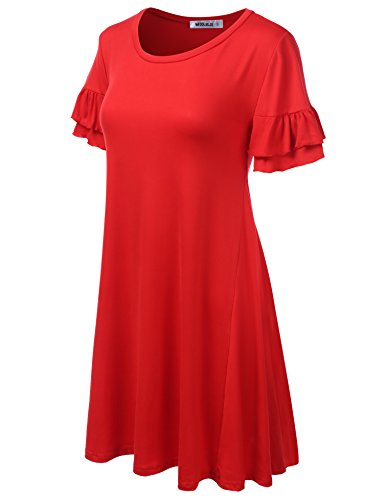 Dress Summer Floral Dress amp; Fit Cwdsd0498 Loose Solid CLOVERY Print red Women's Tunic qXxzvwXfgB