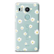 Nexus 5X Case, CasesByLorraine Cute Daisy Floral Flowers Clear Transparent Case Flexible TPU Soft Gel Protective Cover for LG Google Nexus 5X (P37)