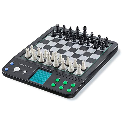 Croove Electronic Chess and Checkers Set with 8-In-1 Board Games, For Kids To Learn and Play (Renewed)