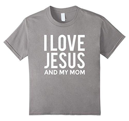 Kids I Love Jesus and My Mom T-Shirt Funny Christian Message 8 (Jesus Youth Christian T-shirt)