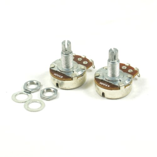 A pair of 500K A&B Control Pots Split Shaft Potentiometer 18mm Shaft Full Size
