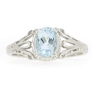 BL Jewelry Filigree Sterling Silver Oval Cut Natural Aquamarine Ring (3/4 CT.T.W) in Vintage Style