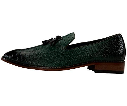 Amali Heren Two-tone Jachtluipaarddruk Patent Roken Slippers, Slip Op Nachtclub Kleding Schoenen, Stijl Sammy Olijfgroen