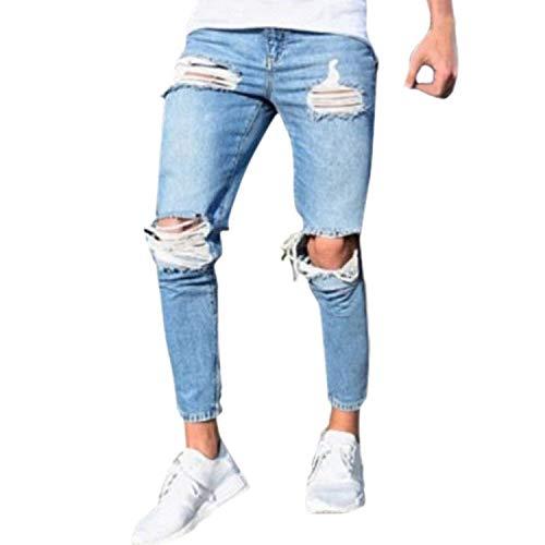 Look Di Abbigliamento Pantaloni In Taglio Denim Fit Fori Jeans Slim Stretch Uomo Attillati Con Da Chern Blau wqwY86xB