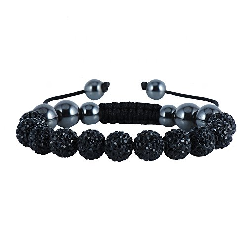 (Bling Toman Black Disco Ball Bracelets Inspired Bracelet Adjustable Crystal Bead Disco Ball Simulated Hematite 7 to 9.5 Inch for School Day (Black Beads))