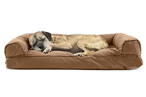 Furhaven Pet Quilted Pillow Sofa Pet Bed, Warm Brown, Medium