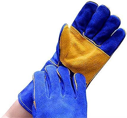 Azul Con Amarillo Multifunción Soldadura Soldadura Guantes para MIG TIG ARC MMA Calor Resistente al fuego Seguridad Guantes de trabajo Piel para horno ...