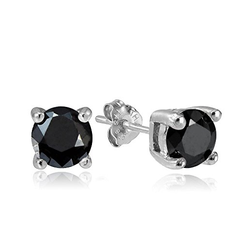Hoops & Loops Sterling Silver 1ct Black Cubic Zirconia 5mm Round Stud (Sterling Silver Design Labret)