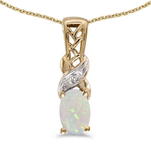 Jewels By Lux 14k Yellow Gold Genuine Birthstone Oval Opal And Diamond Pendant (1/5 Cttw.)