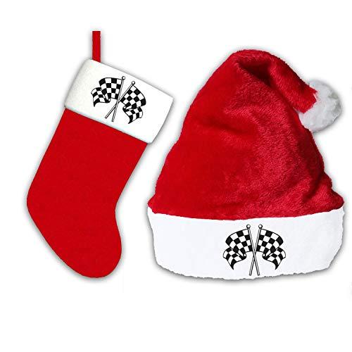 Christmas Stocking Checkered Flag Santa Hat Red Plush Xmas Classic Party Cap Hanging Tag Holiday Sock Festive Gift Holder ()