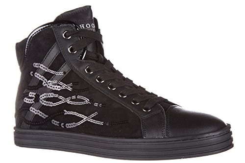 Hogan Rebel Damenschuhe Damen Wildleder Schuhe High Sneakers r182 paillettes ond