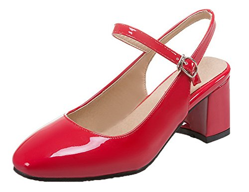 Shoes Kitten Leather Heels Red WeiPoot Square Pumps Buckle Women's Patent Toe Solid qwxURCv