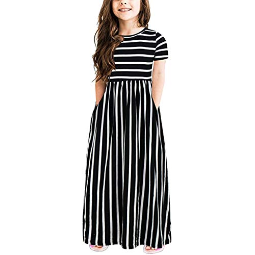 Sameno Summer Toddler Baby Girls Short Sleeve Striped Print Dress Kids Dresses Clothes (Black, 2-3 Years)