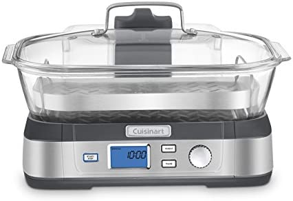 41GGP7hu7oL. AC Cuisinart Digital Glass Steamer, One Size, Stainless Steel    Consumers looking for a healthy way to cook will love Cuisinart's new Cook Fresh Digital Glass Steamer. A powerful steam system delivers steam from the top down, surrounding food to cook quickly and evenly. The 5-liter glass cooking pot is large enough for family-size portions of vegetables, fish, chicken, rice and more. And the steamer's 1-liter water tank conveniently lifts off to fill. Healthy cooking is today's biggest trend, and this new glass steamer from Cuisinart makes it quick and easy. Features: Powerful steam system 5L dishwasher-safe glass pot 5 preprogrammed food settings: seafood poultry grains vegetables and manual 60 minute countdown timer LCD control panel Audible alert Start/Stop Pause & Reheat buttons 1L removable water tank Stainless steel steaming tray flips to hold different types of food Glass lid with stainless steel rim Limited 3 year warranty BPA-free