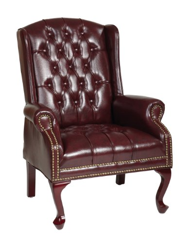 Office Star Thick Padded Vinyl Tufted High Back Traditional Queen Anne Style Chair with Nailhead Accents and Mahogany Finish Legs,