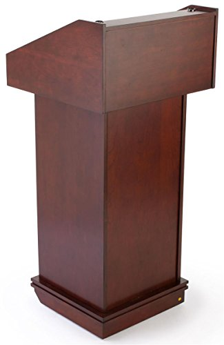 Mahogany Finish Lectern For Tabletop Or Free-Standing Use With Hidden Wheels, 22-3/8 x 48 x 21-5/8-Inch by Displays2go