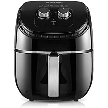 COSTWAY Air Fryer 3.5Qt 1300W Electric Hot Oil-Less Oven Cooker, UL Certified, Dishwasher Safe, with Smart Time&Temperature Control, Non Stick Fry Basket, Auto Shut Off (Black)