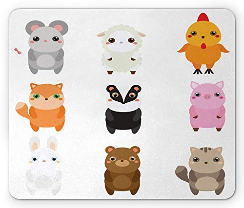 (Kawaii Mouse Pad, Cute Children Style Wildlife Animals Collection Bunny Fox Sheep Badger and Chicken, Standard Size Rectangle Non-Slip Rubber Mousepad,)