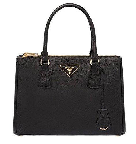 Prada Women's Black Leather Solid Handbag Shoulder Bag