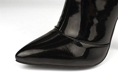 Womens punta stivali brevetto tacco Xianshu ginocchio stivali Rosso sopra in alto pelle aZnxTxqCwd