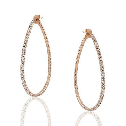 Humble Chic Simulated Diamond Big Hoop Earrings - Rhinestone Teardrop CZ Crystal Extra Large Statement Bridal Ear Jacket Loops, Gold-Tone Teardrop - 2 inch, Medium, Hypoallergenic