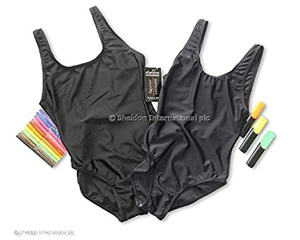 9878cd7bf9 Sheldon Girls Swimming Costume Colour Navy (Various Sizes): Amazon.co.uk:  Clothing