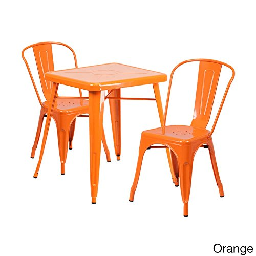 Offex Metal Indoor-Outdoor Table Set with 2 Stack Chairs Orange by Offex