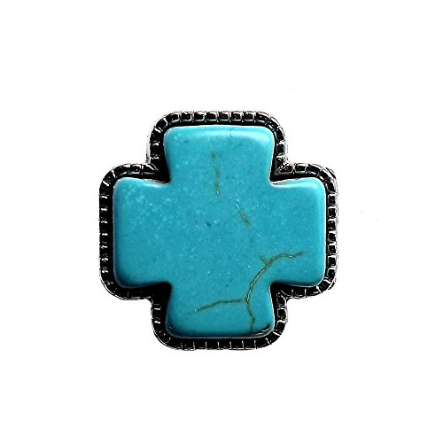 Framed Turquoise Cross Nestled in a Nickel Plated Screwback (Cross Concho)