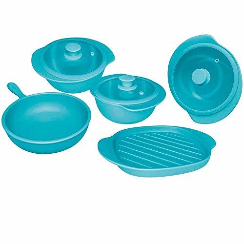 Oxford 7891361977543 5 Piece Linea Cookware, Aqua For Sale