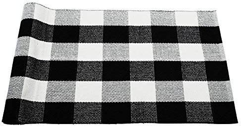 Dave Z-ONE Buffalo Check Rug,Cotton Washable Door Mat Hand-Woven Checkered Plaid Rug for Doorway Kitchen Bathroom Entry Way Laundry Room Bedroom, 3 x 5