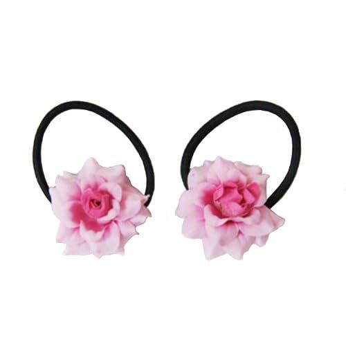 1 Pair Rose Flower Elastic Hair Ties ,Ponytail Holders Choose the Color (Pink)