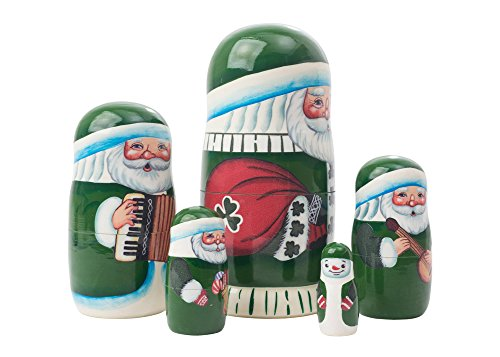 "Made in Russia Authentic Irish Santa Nesting Doll 5pc./5"" Saint Nicholas Collectible Babushka Russian Doll top quality 100% Guaranteed! by Golden Cockerel (Image #1)"